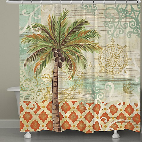 Laural home spice palms shower curtain bed bath beyond - Bathroom items that start with l ...
