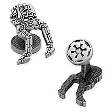 image of Star Wars™ Silver-Plated AT-ST Walker Etched Cufflinks