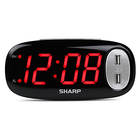 digital alarm clock with 2 usb ports bed bath beyond. Black Bedroom Furniture Sets. Home Design Ideas