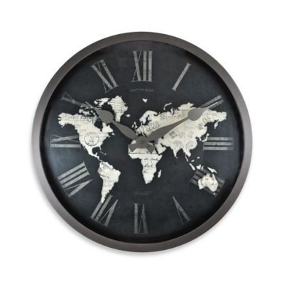 image of FirsTime® World Map Wall Clock in Black/Gold