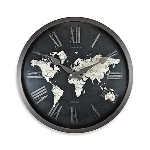 Firstime world map wall clock in blackgold bed bath beyond firstimereg world map wall clock in blackgold gumiabroncs Choice Image