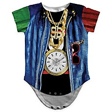image of Faux Real Photorealistic Old School Rapper Short Sleeve Bodysuit