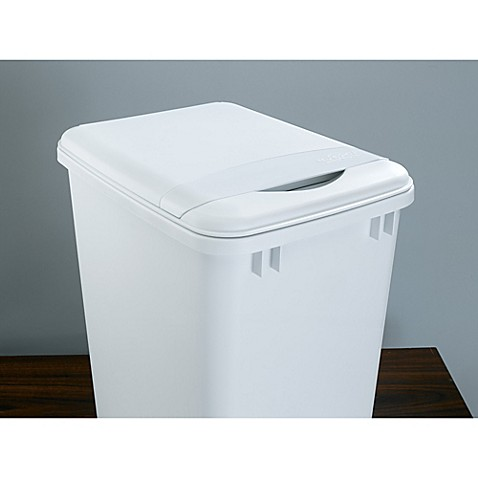 Rev a shelf white waste container lid bed bath beyond for Bathroom containers with lids
