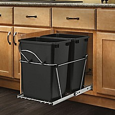 image of Rev-A-Shelf - RV-18KD-18C S - Double 35 Qt. Pull-Out Black and Chrome Waste Container