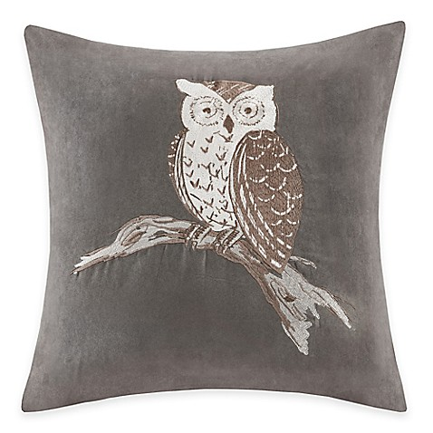 Madison Park Owl Embroidered Square Throw Pillow - Bed Bath & Beyond