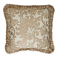 image of Austin Horn Classics Casablanca Lattice Flower Square Throw Pillow in Gold/Cream