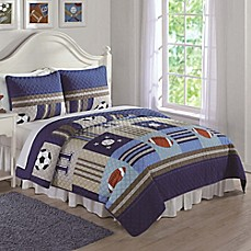 image of Sports Quilt Set in Denim/Khaki