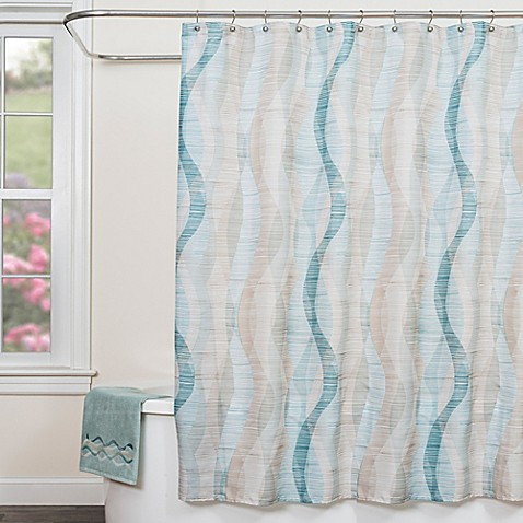 Sketchbook Waves Fabric Shower Curtain In Teal