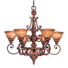 image of Minka Lavery® Illuminati 6-Light Chandelier in Bronze with Patina Glass Shade