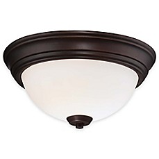 image of Minka Lavery® Overland Park 2-Light Flush-Mount Ceiling Light in Vintage Bronze with Glass Shade