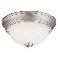 image of Minka Lavery® Overland Park 2-Light Flush-Mount Ceiling Light in Brushed Nickel with Glass Shade
