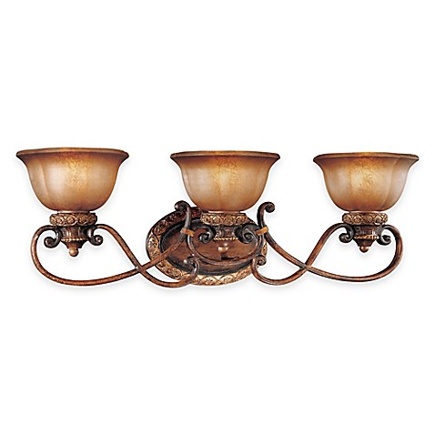 Buy minka lavery illuminati 3 light wall mount bath fixture in bronze with glass shade from for Minka bathroom light fixtures
