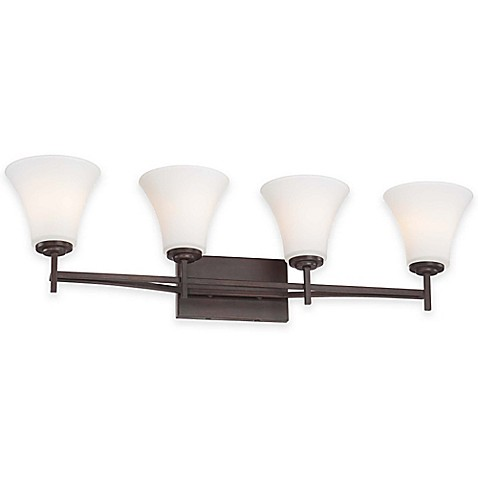 Buy Minka Lavery Middlebrook 4 Light Wall Mount Bath Fixture In Vintage Bronze With Glass Shade