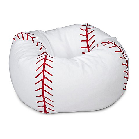 Round Baseball Bean Bag Chair In Matte White Red Bed