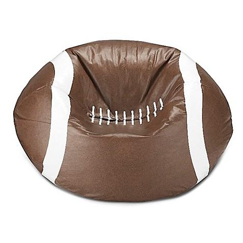 Round football bean bag in matte brown white bed bath for Hand shaped bean bags