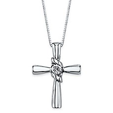 image of Sirena® Collection 14K White Gold .10 cttw Diamond 18-Inch Chain Cross Pendant Necklace