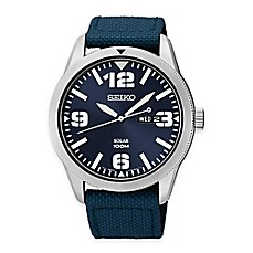 image of Seiko Men's Solar Watch in Stainless Steel with Blue Dial and Blue Webbed Nylon Strap