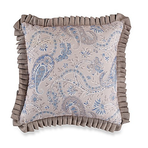 Buy Sherry Kline Serenity Pleated Ruffle Square Throw Pillow in Beige/Blue from Bed Bath & Beyond