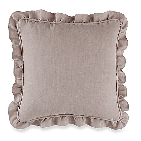 Throw Pillows With Ruffle Edge : Buy Sherry Kline Retreat Ruffle Trim Throw Pillow in Linen from Bed Bath & Beyond