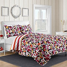 image of Shannon Reversible Quilt Set in Pink Floral