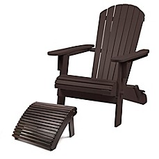 image of Westerly Acacia Wood Adirondack Folding Chair and Ottoman Collection