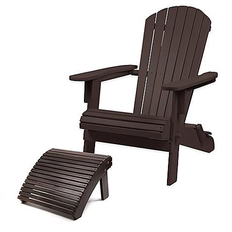 Westerly Acacia Wood Adirondack Folding Chair And Ottoman
