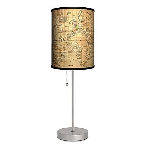 vintage world map table lamp with matte silver base bed bath. Black Bedroom Furniture Sets. Home Design Ideas