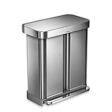image of simplehuman® Dual Compartment Rectangular 58-Liter Step Trash Can