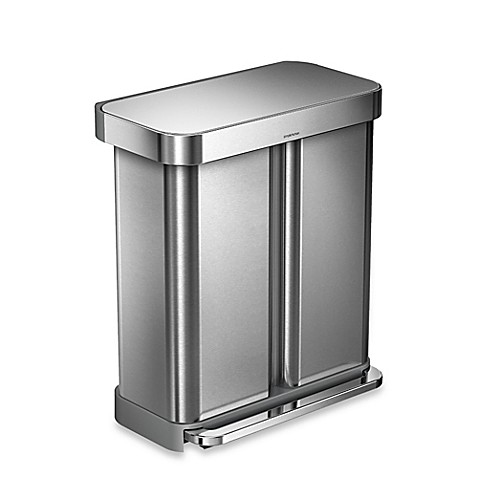 buy simplehuman dual compartment rectangular 15 3 gallon step can in brushed stainless steel. Black Bedroom Furniture Sets. Home Design Ideas