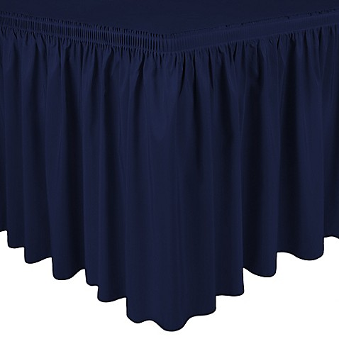 buy shirred 11 foot polyester table skirt in midnight navy