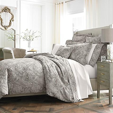 Kassatex Medici Italian Made Duvet Cover In Grey Bed