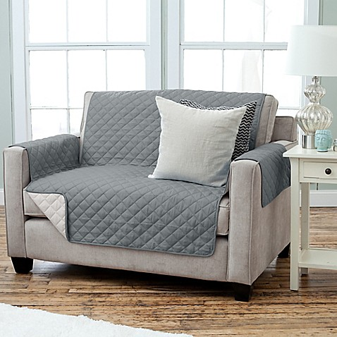 Buy Kaylee Collection Reversible Loveseat Size Furniture Protector In Charcoal Beige From Bed