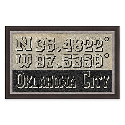 Framed Gicl E Oklahoma City Coordinates Print Wall Art