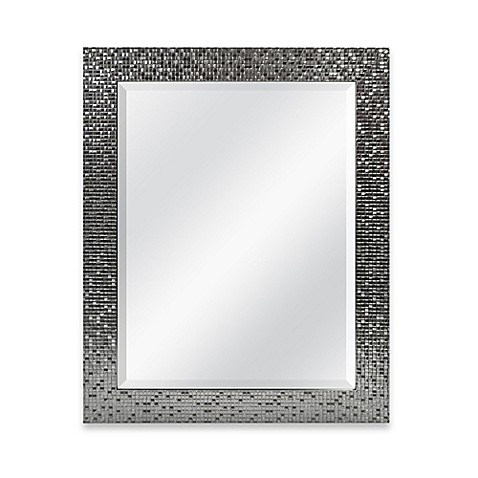 Contemporary Medium Basic 26 5 Inch x 32 5 Inch Rectangular Mirror in Silver Tile Beautiful - Inspirational black framed bathroom mirror Pictures