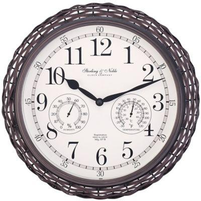 Sterling U0026amp; Noble Dark Woven Indoor/Outdoor Wall Clock ...