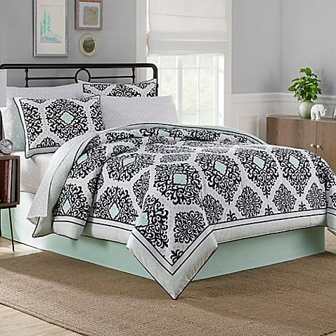 cooper reversible 6-8 piece comforter set in mint - bed bath & beyond