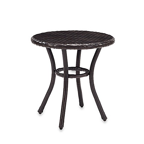 Crosley palm harbor round outdoor wicker side table in - Bed bath and beyond palm beach gardens ...