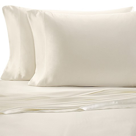 Buy valeron estate silk queen sheet set in pearl from bed for Silk sheets queen bed bath beyond