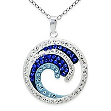 image of Sterling Silver Blue Crystal 18-Inch Chain Crashing Waves Open Circle Pendant Necklace