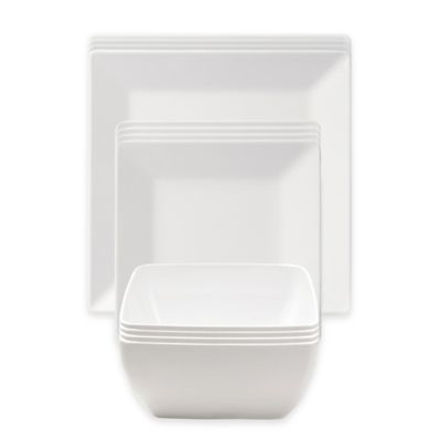 Q Squared NYC Diamond White Dinnerware Collection Bed Bath Beyond