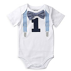 image of Mud Pie® 1st Birthday Bodysuit in White
