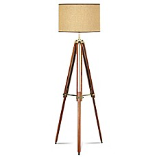 image of Pacific Coast® Lighting Tripod Floor Lamp with Drum Shade in Walnut