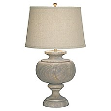 image of Pacific Coast® Lighting Kathy Ireland Grand Maison Table Lamp in Grey with Linen Shade
