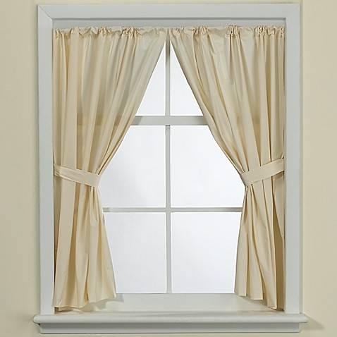Bone Vinyl Bath Window Curtain Panel Pair