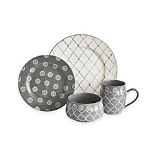 image of Baum Moroccan 16-Piece Dinnerware Set in Grey/Ivory