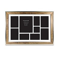 image of 9 photo collage picture frame in walnut