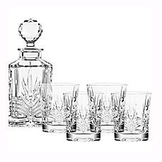 image of Belleek 5-Piece Galway Crystal Kells Decanter Set