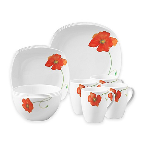 Tabletops Gallery® Palermo 16-Piece Square Dinnerware Set - Bed Bath ...