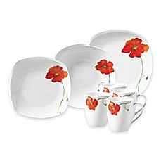image of Tabletops Gallery® Poppy 16-Piece Square Dinnerware Set