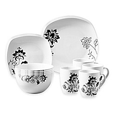 image of Tabletops Gallery® Rebecca 16-Piece Square Dinnerware Set